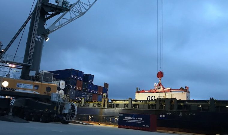 Salmon container bound for London, loaded onboard MS Vega Vela. Photo: Bremnes Seashore